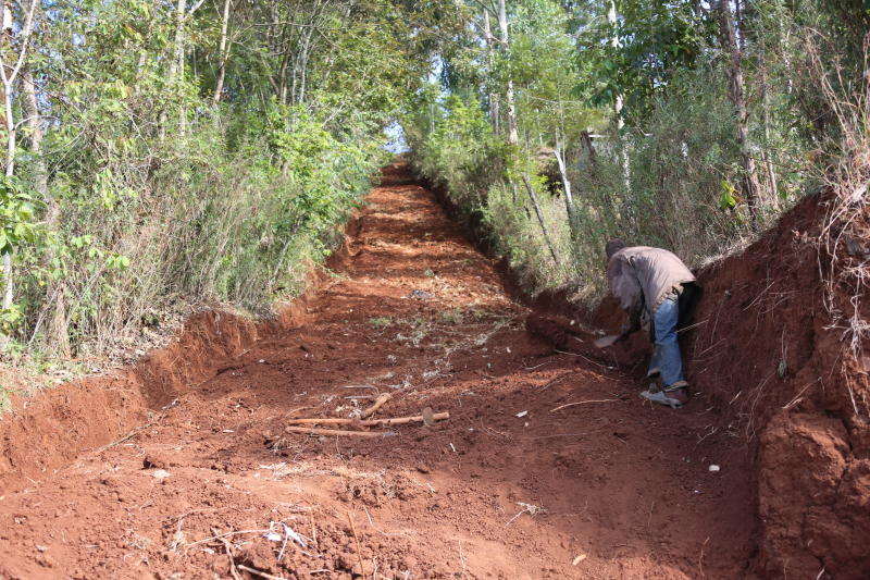 Nicholas Muchami single-handedly in six days carved out an access road between his village and Kaganda market. (Allan Mungai/ Standard)