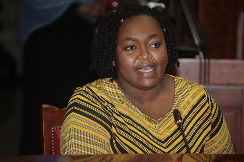 Former Kirinyaga County CEC member Wanjiru Njeru testify during Governor Anne Waiguru's impeachment hearing before the Senate Committee (Photo: Boniface Okendo,Standard)