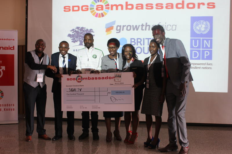 Executive director from ActionAid Kenya , Makena Mwobobia (middle). Signs TV was one of the six winners of the SDG-Ambassadors case competition in Social Entrepreneurship. Best,