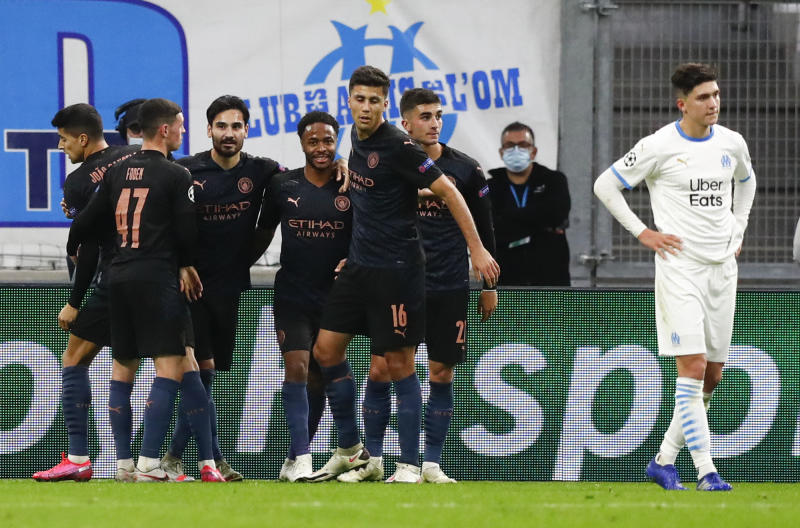 Man City thrash Marseille 3-0 to stay top in Champions League Group C