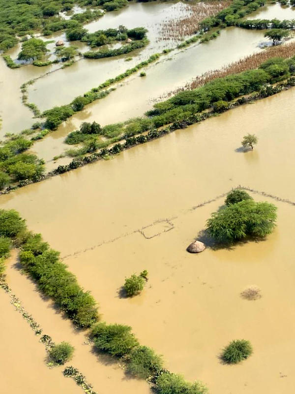 An aerial photo of flooded villages near Lake Baringo. Hundreds of people have been displaced and property destroyed.