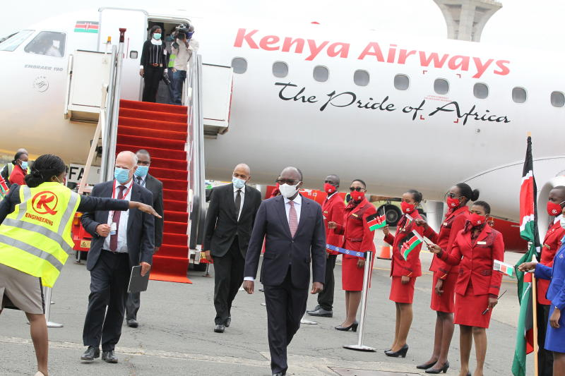 Transport CS James Macharia and Michael Joseph (left) moments after flagging off domestic flights which resumed operations on Wednesday, July 15, 2020. (Photo: Jonah Onyango)