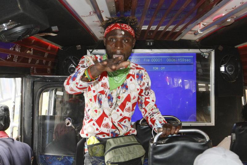 Oscar Mizani, the roving artiste who plies his trade in matatus