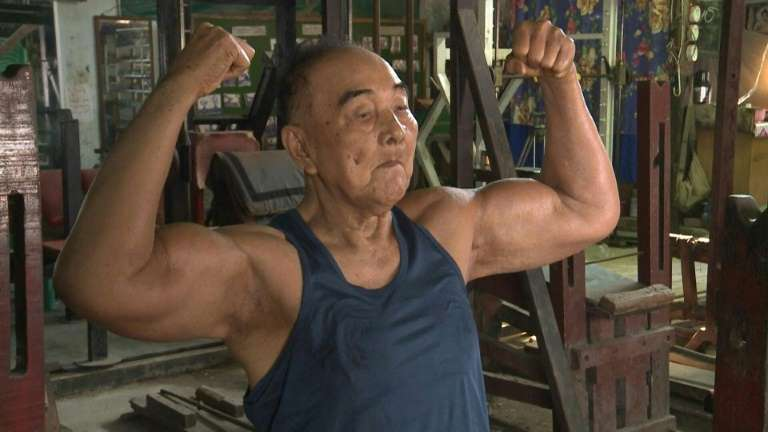 Ripped not RIP'd: Myanmar's former 'Mr Burma' still pumping iron at 91