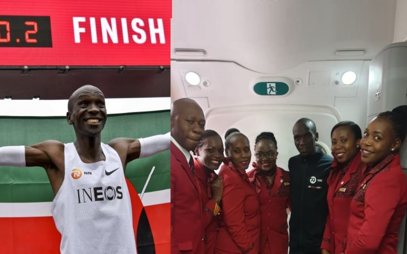 Kipchoge arrives home after running marathon in under two hours