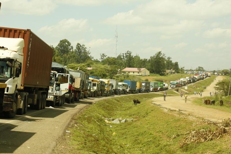 Trucks at the Malaba border. (Photo: Benjamin Sakwa)