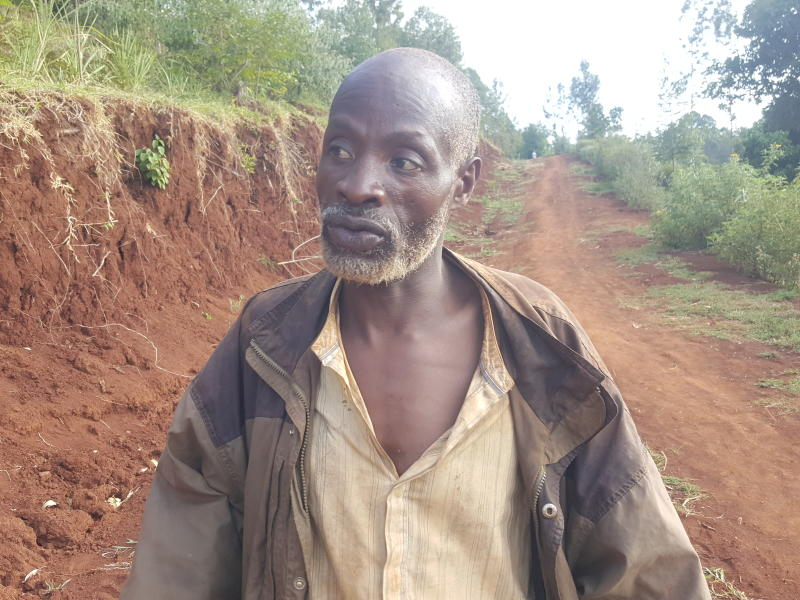 Nicholas Muchami single-handedly carved out an access road between his village and Kaganda market. (Allan Mungai/ Standard)