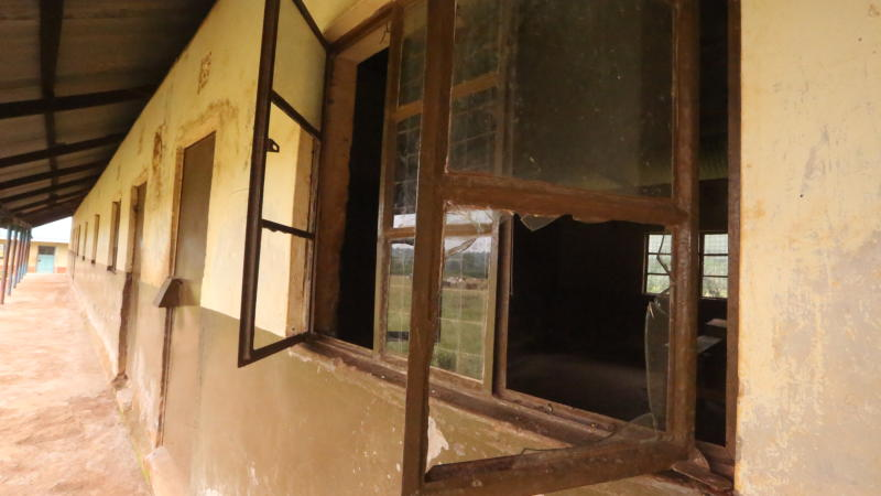 Broken window panes at Ami Primary School in Seme Kisumu County (Photo: Collins Oduor)