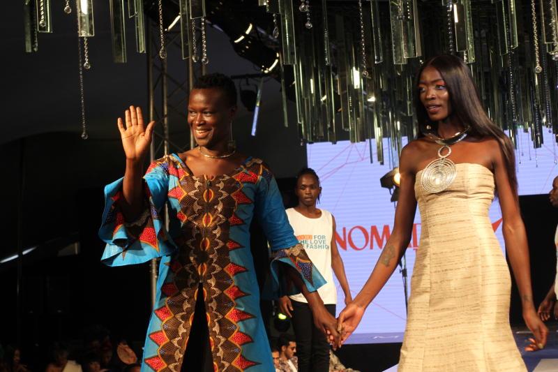 Designer Lucy Rao of  Rialto fashion with a model