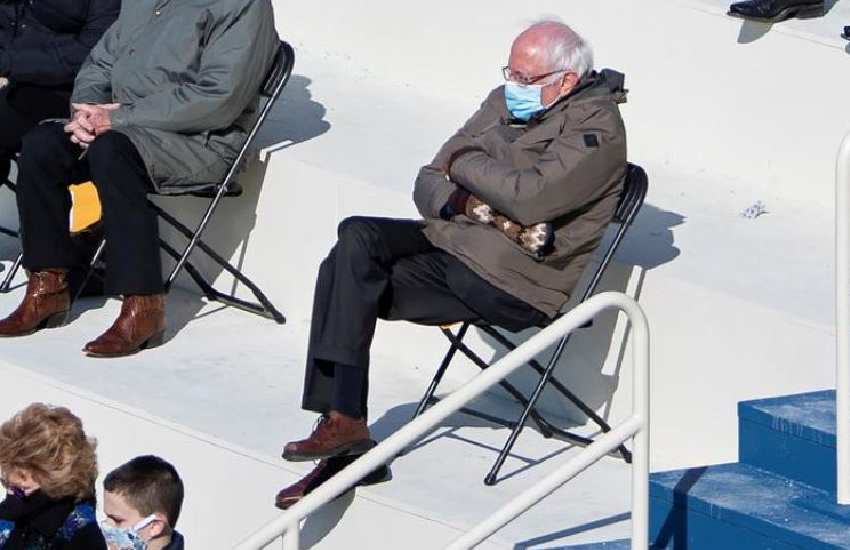 Bernie Sanders, bundled up at Biden inauguration, goes viral in a meme