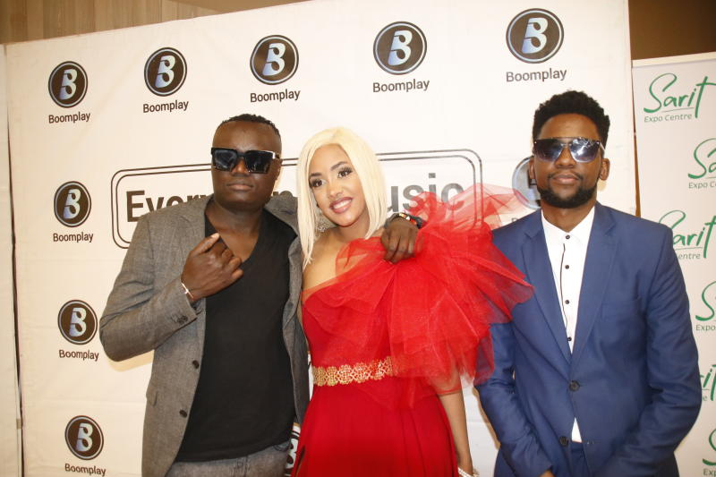 A1 Entertainment CEO Kevin Obia ,music artist Tanasha and Daniel Weke  during her Donatella EP Album Launch at the Sarit Centre Expo on 2nd JANUARY 2020 PHOTO/David Gichuru