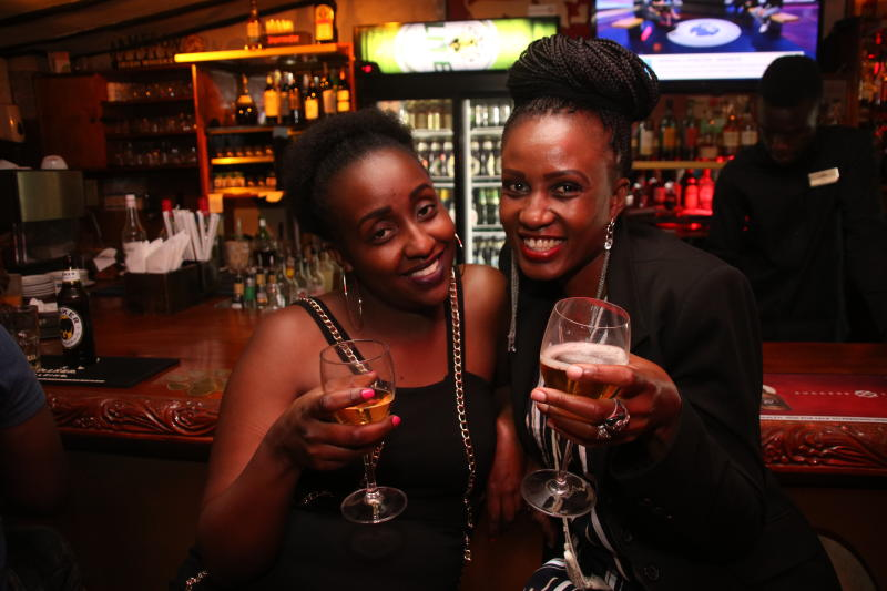 Carol Njuguna and Maureen Ogato during the 1st New Jack Swing of the Decade,went down at the Carnivore Simba Saloon with the E- thadeejay , DJ Ben and DJ Adrian ON 2IST February 2020 PHOTO/David Gichu