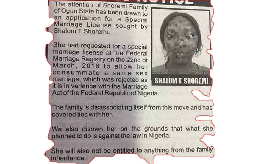 Family disowns daughter seeking special marriage licence