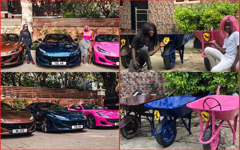 Hilarious: Nigerian kids recreate photos of billionaires' Ferrari gifts to daughters
