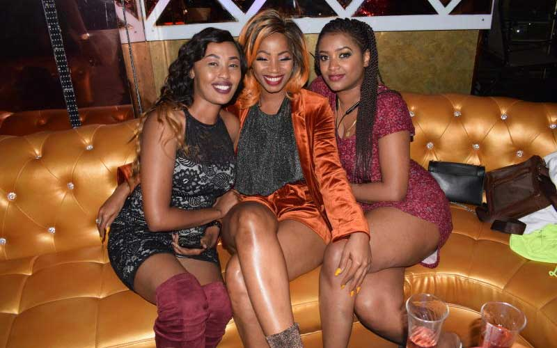 Ugandan artist Sheebah (centre) with fans