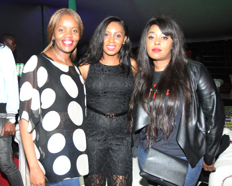 Carole Kinuthia (from left) Monic a Kirago and Lillian Muli during the UB 40's 'Real Labour of Love' tour concert at the Carnivore grounds .[Elvis Ogina,Standard]
