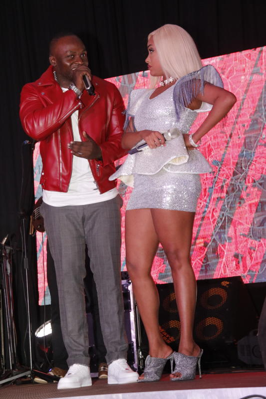 Khaligraph Jones and Tanasha Donna perform during her Donatella EP Album Launch at the Sarit Centre Expo on 2nd JANUARY 2020 PHOTO/David Gichuru