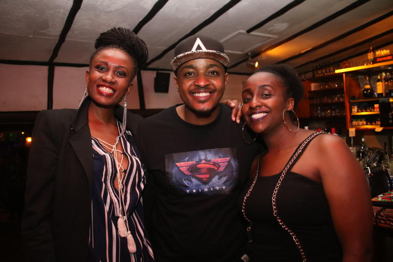 Carol Njuguna,Ethadeejay  and Maureen Ogato during the 1st New Jack Swing of the Decade,went down at the Carnivore Simba Saloon with the E- thadeejay , DJ Ben and DJ Adrian ON 2IST February 2020 PHOTO