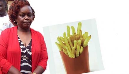 Stranded Mbita MP Millie Odhiambo eats chips mwitu in Dakar, Senegal
