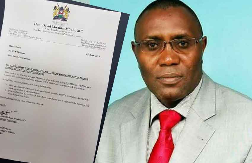 Kitui Rural MP under fire for awarding 'mpango' Sh90, 000 bursary