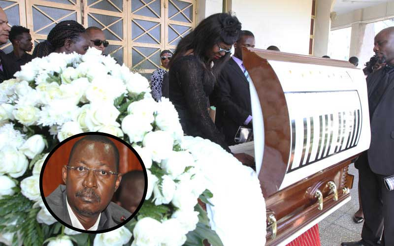 Bruce Odhiambo's coffin decorated with piano to reflect musical past