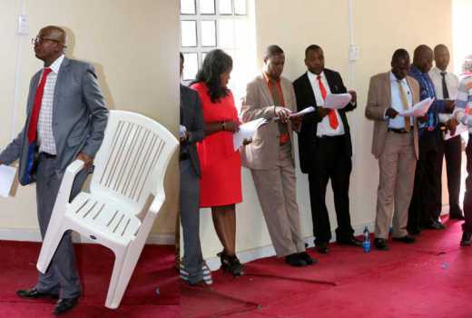 Nakuru MCAs refuse to sit on plastic chairs, opt to stand during session