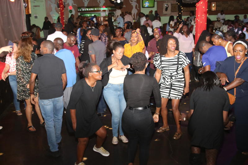 Revellers enjoy the 90s music during the 1st New Jack Swing of the Decade,went down at the Carnivore Simba Saloon with the E- thadeejay , DJ Ben and DJ Adrian ON 2IST February 2020 PHOTO/David Gichuru