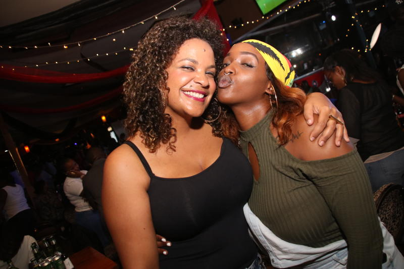 Samantha and Mary George during the 1st New Jack Swing of the Decade,went down at the Carnivore Simba Saloon with the E- thadeejay , DJ Ben and DJ Adrian ON 2IST February 2020 PHOTO/David Gichuru