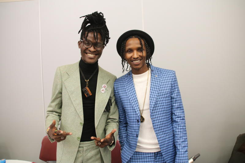 Mordecai Mwinyi of Hart the band and Kenyan American rapp artist barak jacuzzi raps during her Donatella EP Album Launch at the Sarit Centre Expo on 2nd JANUARY 2020 PHOTO/David Gichuru