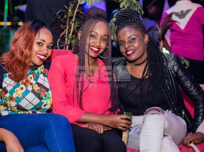 Hellen Musau, Nadine Njeri and Cathy Musyoka at the Circus Night at Fortis Tower