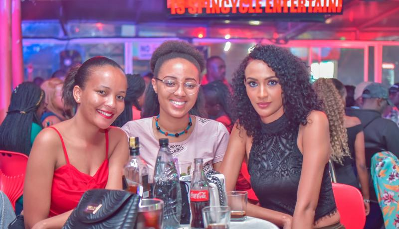 From left Jackline Omar, Eleine Wahito and Marion Wangeci at the Big year blend concert at Mombasa road on 4th January 2020. Photos by: FELIX KAVII