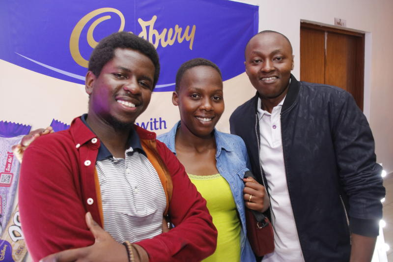 Ian Kazungu,Cecilia Kameu and Rewel Muthomi during the 'SAY IT WITH PS' cadburys chocolate launch at Anga Cinema on 17th February 2020 PHOTO/David Gichuru