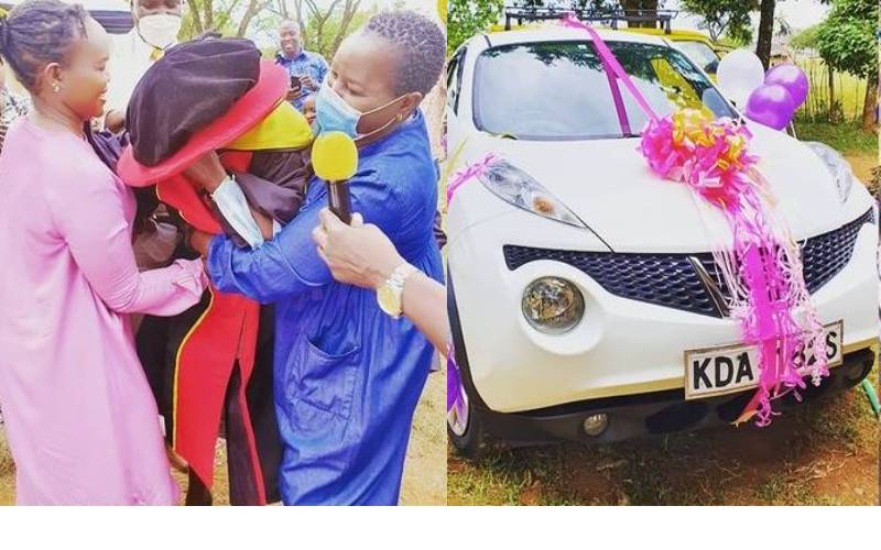 Emmy Kosgei gifts her mum a car after graduating