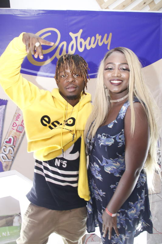 Shaqtheyungin  and Darya Kish  during the 'SAY IT WITH PS' cadburys chocolate launch at Anga Cinema on 17th February 2020 PHOTO/David Gichuru