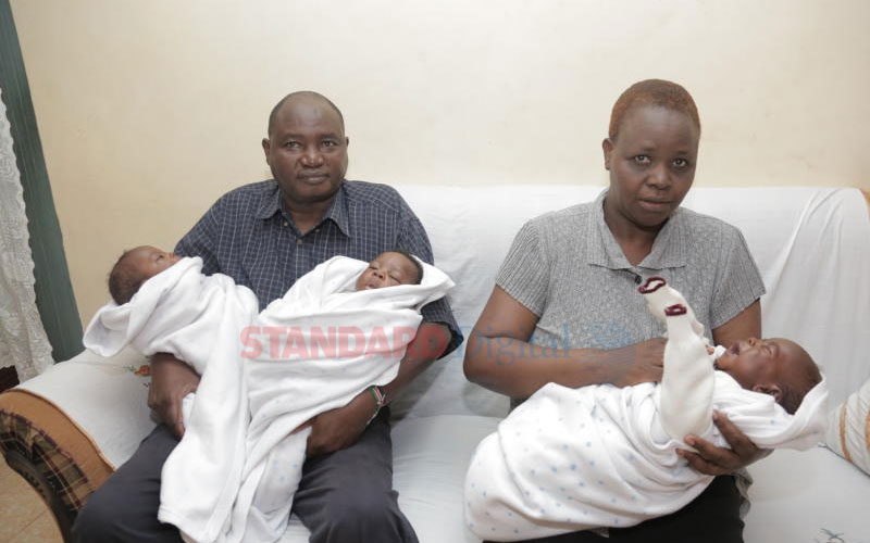 Joy as Githurai couple welcomes triplets after 22 years of marriage