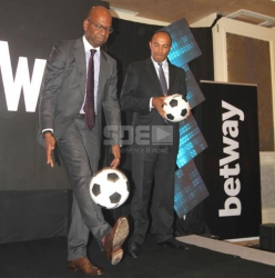 Ken wa Baha! Peter Kenneth beats Bob Collymore at a football competition