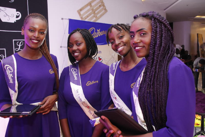 General Manager Hasbah  Josek Shukule,CBA Mondelez International  Lorna Kamemba  and Market Manager Mondelez Kenya Francis Kathoka at the Cadbury launch 'SAY IT WITH PS' at Anga Cinema    on 17th Febr