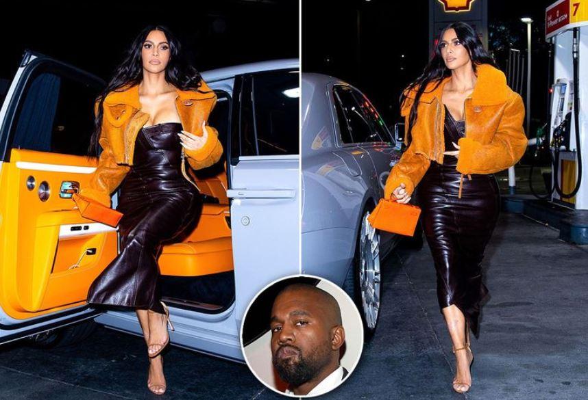 Kim Kardashian turns heads in leather dress and Sh128,000 jacket designed by ex Kanye West