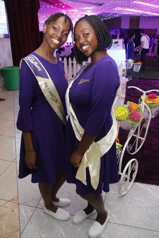 Esther Muthoni and Shanice Muthoni during the 'SAY IT WITH PS' cadburys chocolate launch at Anga Cinema on 17th February 2020 PHOTO/David Gichuru