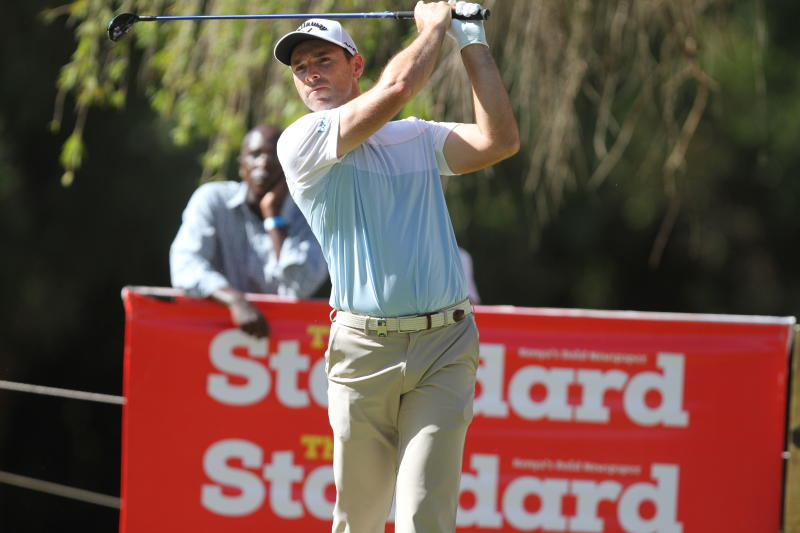 English Oliver Wilson follow his tee during the Magical Kenya Open