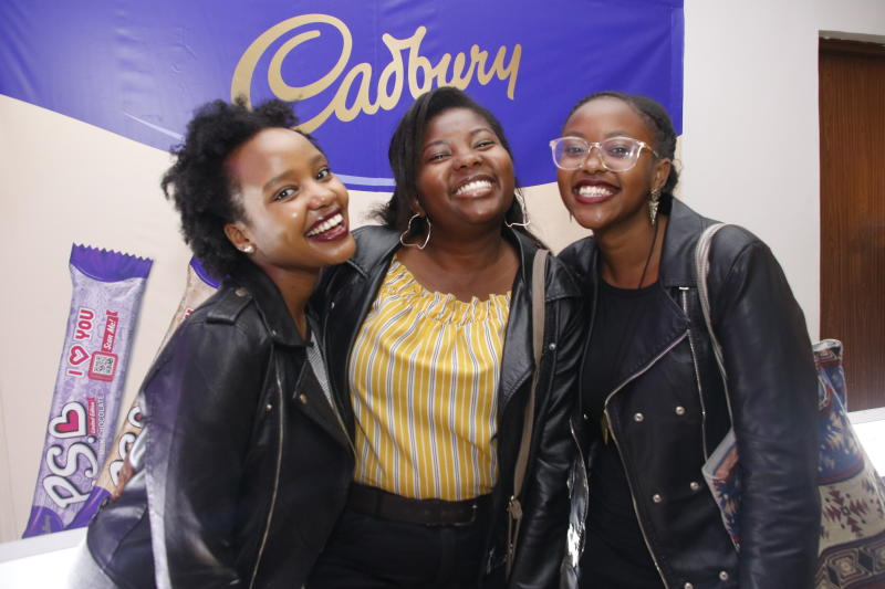 Naomi Wambui,Susan Ngeru and Nyakio Karoki during the 'SAY IT WITH PS' cadburys chocolate launch at Anga Cinema on 17th February 2020 PHOTO/David Gichuru