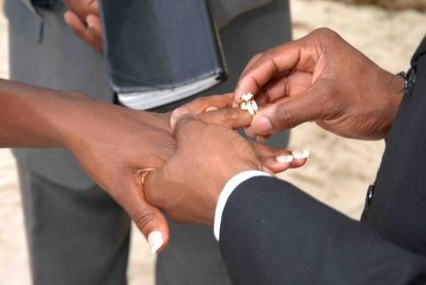 Couple exchange wedding rings