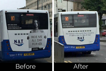 """Topless model """"Ride Me All Day"""" slogan on bus, that caused fury replaced by new slogan"""