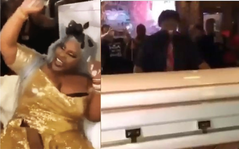 VIDEO: Bride arrives at her wedding in a coffin, social media reacts