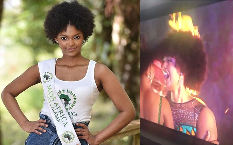 Miss Congo's hair catches fire in Nigeria shortly after being crowned