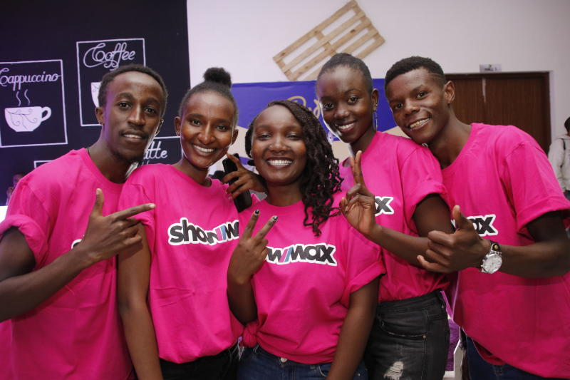 Robert Kimani,Naomi Kamau,Edna NdindI,Maureen Kasim and Gideon Mutemi of showmax during the 'SAY IT WITH PS' cadburys chocolate launch at Anga Cinema on 17th February 2020 PHOTO/David Gichuru