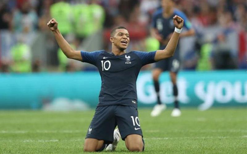 France's Kylian Mbappe celebrates winning the Worl