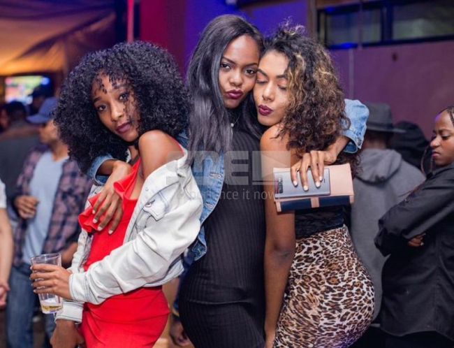From left, Jemimah Shiko, Lilian Minola and Felicia Lola at the Circus Night at Fortis Tower on 4th November 2017