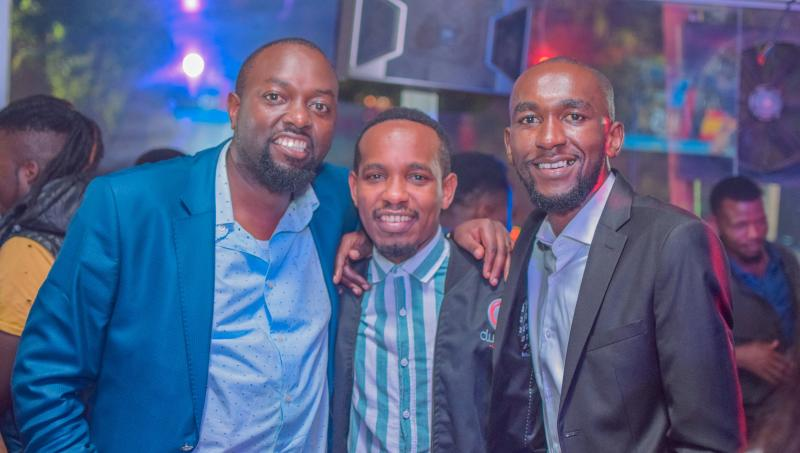 From left JLloyd, Dean Martin and Karl Furaha at the Big year blend concert at Mombasa road on 4th January 2020. Photos by: FELIX KAVII