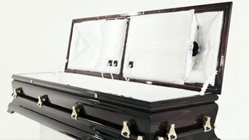 Sound system coffin that lets you party in the afterlife